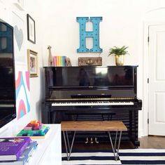 Styled black upright piano