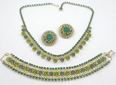 Weiss Green Rhinestone Parure - Garden Party Collection Vintage Jewelry