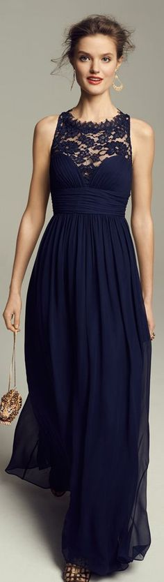 Navy Prom Gowns 2015  Lace,Evening Dresses