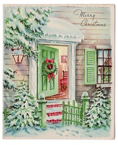 old christmas cards Vintage Christmas Images, Old Fashioned Christmas, Christmas Scenes, Christmas Past, Retro Christmas, Vintage Holiday, Christmas Pictures, Christmas Holidays, Christmas Decorations