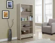 Monarch Specialties Natural Reclaimed-Look 71H Bookcase With A Drawer, Beige & Tan