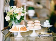 Big Love Wedding Design, dessert bar cart, bundt cake with DIY topper