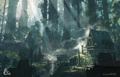 Amazing illustration of an elven village. Art done by the super talented Thom Tenery for Wizards of the coast. ________________________ Leave a comment and tag a friend Fantasy Magic, Fantasy Forest, Fantasy City, Fantasy Places, Fantasy World, Dark Fantasy, Fantasy Queen, Fantasy Castle, Fantasy Village
