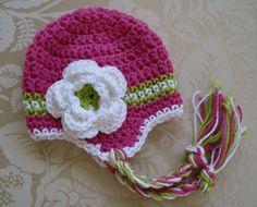 Pink Green Crochet Earflap Hat
