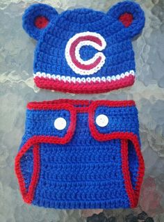 16071ab9c4f Crocheted Chicago Cubs Hat and diaper cover Baby Hat Patterns