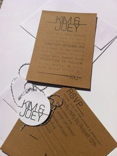 Modern meets Rustic-Wedding Invitations, rsvp card, twine and tag