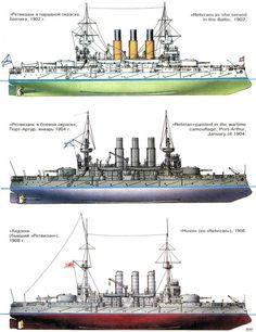 """Acorazado """"Retvizan""""   -Baltico 1902     Port Arthur - 1904         Hizen (Japon) - 1908"""