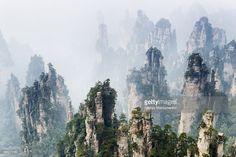 China, Hunan, Zhangjiajie, Zhangjiajie National Forest Park, Cliffs in fog