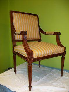 El blog de la restauradora: Reciclado de un sillón de estilo neoclásico http://elblogdelarestauradora.blogspot.com.es/2012/05/reciclado-de-un-sillon-neoclasico.html