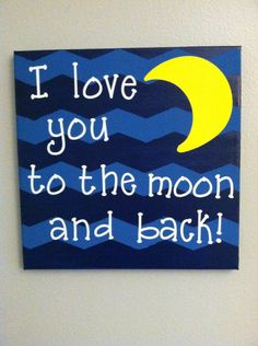 I Love You To The Moon And Back Chevron Canvas Painting on Etsy, $18.50