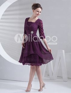 Grape Square Neck Half Sleeves Knee Length Chiffon Prom Dresses - Milanoo.com