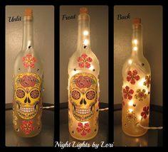 Skull Wine Bottle Night Light by NightLightsbyLori on Etsy Bottle Painting, Bottle Art, Lighted Wine Bottles, Arts And Crafts, Diy Crafts, Painted Wine Glasses, Cool Pins, Wine Bottle Crafts, Craft Gifts