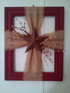 frame with burlap cross country crafts Noel Christmas, Christmas Wreaths, Christmas Ornaments, Burlap Christmas Crafts, Decor Crafts, Holiday Crafts, Holiday Decor, Diy Crafts, Tree Crafts