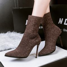 cab1d66d1 99 5 New Fashion Women Ankle Boots Help Socks Shoes Stretch Solid Color  Stiletto Sexy Pointed High Heeled Shoes Black Ankle Boots Wedge Shoes From  ...