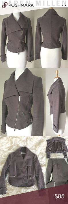 "Karen Millen Motorcycle Jacket Karen Millen-Soft 100% Cotton (feels like faux suede) zipper details and side buckle and snaps at sleeves. Worn few times, in excellent condition! Size-6. Length: 21"". Chest: 37"". Sleeve Length: 25"" Karen Millen Jackets & Coats Pea Coats"