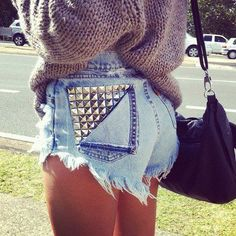 Studded Shorts with Slouchy Sweater