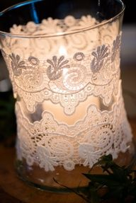 lace jars for wedding reception decorations Bodas Shabby Chic, Shabby Chic Wedding Decor, Rustic Wedding Centerpieces, Wedding Table, Diy Wedding, Dream Wedding, Wedding Day, Centerpiece Ideas, Rustic Weddings