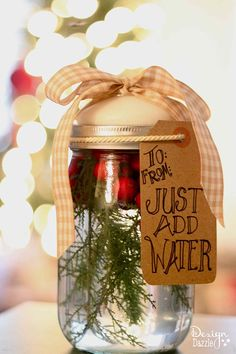 Mason jar gift idea. There you have it! In under 5 minutes, you have a darling, inexpensive gift to share with your friends and neighbors. Free printable on Design Dazzle.
