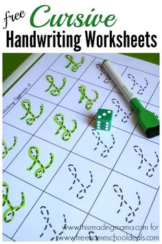 FREE Cursive Handwriting Worksheets ~ roll the die and write | Free Homeschool Deals