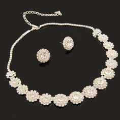 Sweetly Flwoer Wedding Necklace And Earrings Jewelry Set