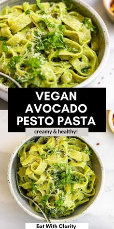 This avocado pesto pasta is a creamy and easy to make recipe that is ready to eat in about 15 minutes! This vegan pasta recipe is healthy, quick, and full of fresh pesto flavor from lots of basil. #avocadopasta Healthy Pesto, Healthy Pasta Recipes, Vegan Dinner Recipes, Avocado Recipes, Dairy Free Recipes, Noodle Recipes, Healthy Meals, Yummy Recipes, Yummy Food
