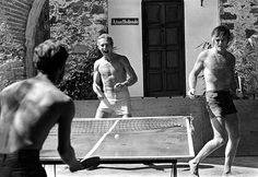 Butch and Sundance ride again. Paul Newman and Robert Redford playing ping pong.