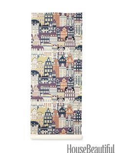 Metropolis wallpaper by Sandberg in lilac -- one panel would be great Cityscape Wallpaper, Fabric Wallpaper, Of Wallpaper, Pattern Wallpaper, Beautiful Space, Beautiful Homes, House Beautiful, Architect Drawing, Wall Candy