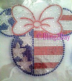 Minnie Mouse  USA Flag  Iron on Rhinestone Transfer by BlingPlaza, $7.99