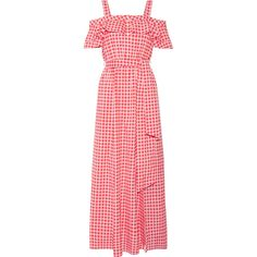 Draper James Dolly cold-shoulder gingham cotton and silk-blend maxi... ($425) ❤ liked on Polyvore featuring dresses, pink, pink gingham dress, flutter-sleeve dress, red gingham dress, red cold shoulder dress and ruffled dresses