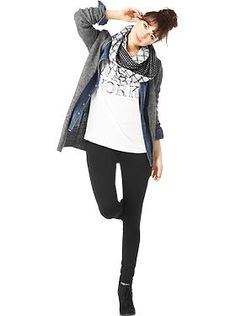 Black and white scarf, gray cardigan, chambray button up, white graphic tee, black jeans, black booties