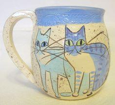 Studio-Art-Pottery-Cat-Mug-Hand-Built-Signed