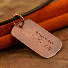 Hand Stamped Copper Dog Tags  Personalized by IntentionallyMe Copper Dog Name Tag with kids name and date