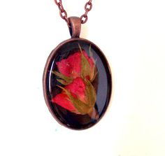 Real Pressed Rose Bud Copper Necklace by GardenGemsJewelry on Etsy, $21.95