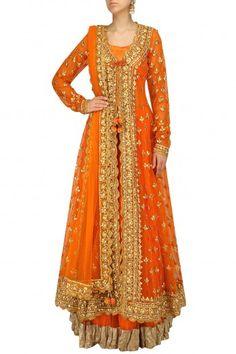 Preeti S Kapoor presents Orange pearl studded scalloped hem jacket, blouse and lehenga set available only at Pernia's Pop Up Shop. Indian Wedding Fashion, Pakistani Fashion Party Wear, Pakistani Wedding Outfits, Pakistani Dress Design, Bridal Fashion, Women's Fashion, Fashion Trends, Indian Gowns Dresses, Indian Fashion Dresses