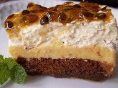 A imagem fala por sí, que delícia essa torta! - Aprenda a preparar essa maravilhosa receita de Torta Pavê de Maracujá