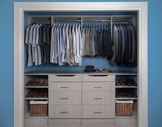 blue inbuilt minimal wardrobe space