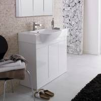 Luxury white gloss bathroom unit.