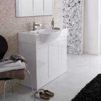 Luxury white gloss bathroom unit.