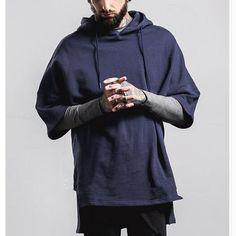 Oversize batwing sleeve hoodie for men hip hop short sleeve hoodies
