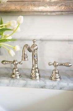 The bathroom faucet is by Rohl LM Polished Nickel). The bathroom faucet is by Rohl LM Polished Nickel). Traditional Bathroom, House Bathroom, Plumbing Fixtures, Trendy Bathroom, Bathroom Faucets, Interior Design Inspiration, Bathroom Sink Faucets, Beautiful Bathrooms, Powder Room Faucets