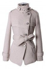 Military Style Belted Trench Coat in Pearl White