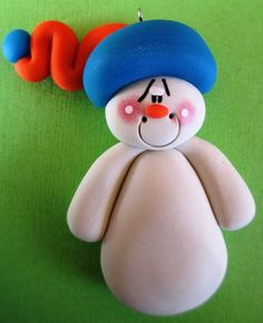 *POLYMER CLAY ~ Personalized Clay Snowmen Christmas Ornament Orange and Blue via Etsy