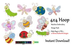20 Baby Bug Machine Embroidery Designs - 10 Fill Stitch Baby Bug Designs - 10 Redwork Baby Bug Embroidery Designs