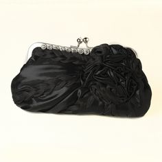26.50$  Watch now - http://vixrl.justgood.pw/vig/item.php?t=0v7oz6c10443 - * Black Braided Ruffle Floral Rhinestone Evening Bag 328 with Silver Frame & Sho 26.50$