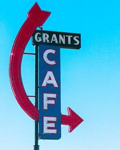 A fine art photo of the Grants Cafe sign in Grants, New Mexico.