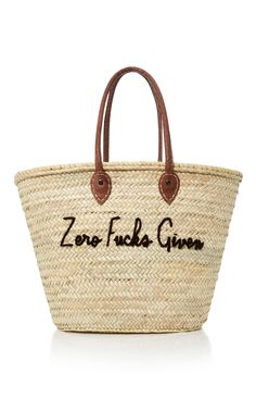 La Plage Embroidered Straw Tote by POOLSIDE Now Available on Moda Operandi  Greek Honeymoons 9a9b5811bd0d3