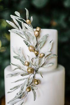 Olive branch wedding cake