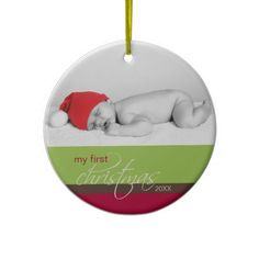 Babys 1st Christmas Custom Ornament (green)