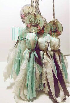 Lace Flowers, Crochet Flowers, Fabric Earrings, Fabric Garland, Hanging Crystals, Tassel Keychain, Tassel Jewelry, Diy Ribbon, Vintage Shabby Chic