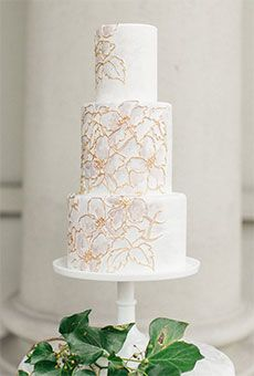 Three-Tier White Wedding Cake with Floral-Patterned Lace   Wedding Cake